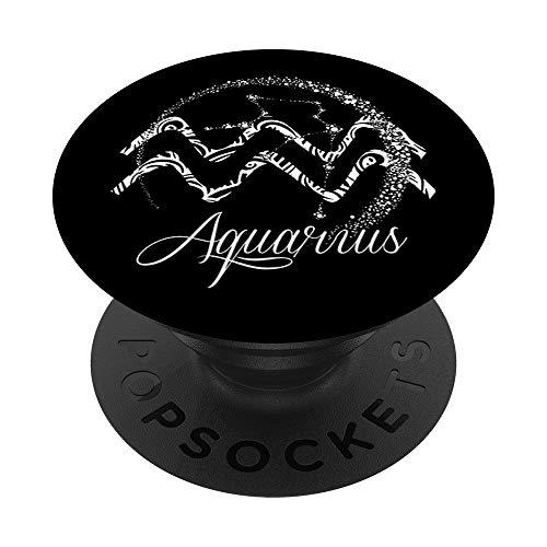 Acquario segno zodiacale stelle gennaio febbraio regalo di PopSockets PopGrip: Impugnatura per Telefoni Cellulari e Tablet Intercambiabile