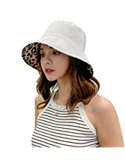 Dames Zomer Luipaardprint Bucket Hat Omkeerbare Brede Rand Panama Visserspet