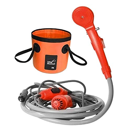 SunniMix 12v Auto Zigaretten anzünder dusche tragbare elektrische pumpe & Faltbarer Eimer für Outdoor Camping Auto Hund Haustiere wasch Pflanzen gießpumpe - Orange