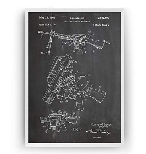 AR-15 Sturmgewehr Patent Poster - Gun Rifle Jahrgang Drucke Drucken Bild Kunst Geschenke Zum Männer Frau Entwurf Dekor Vintage Art Blueprint Decor - Rahmen Nicht Enthalten