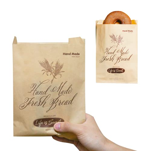 50 Pack 9.5 X 6.3 Inch Kraft Paper Bread Bags, Kraft Grease Resistant Wax Bags for Breads, Sandwiches, Donut, Cookies, Snacks, Eco Friendly Paper Bakery Bags Gift for Bakers.