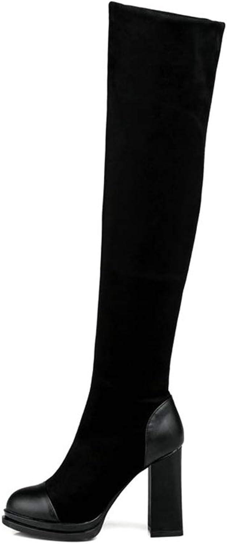 Hoxekle kvinnor Over The The The Knee Boot Square hög klack Point Toe Platform Stretch svart röd Winter mode Casual Long stövlar  senaste stilar