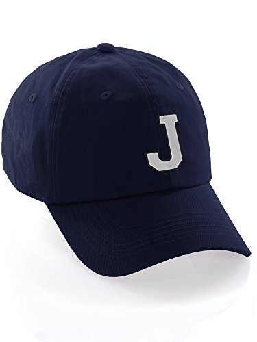 I&W Hatgear Customized Letter Intial Baseball Hat A to Z Team Colors, Navy Cap Black White Letter J