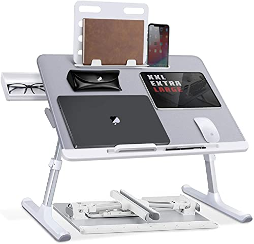 Mesa para portátiles, SAIJI Mesa de Cama Ajustable en Altura, con cajón...