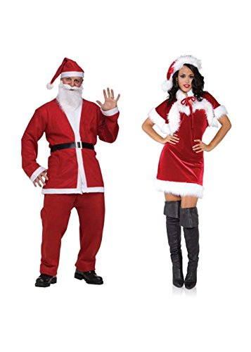 Santa Men Pub Crawl and Sexy Merry Holiday Women Xmas Couples Costumes (Small) Red