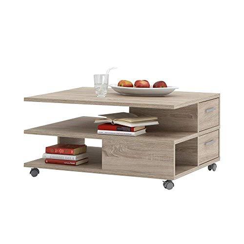 FMD furniture Couchtisch, Spanplatte, Eiche Nb, ca. 92 x 45 x 60 cm