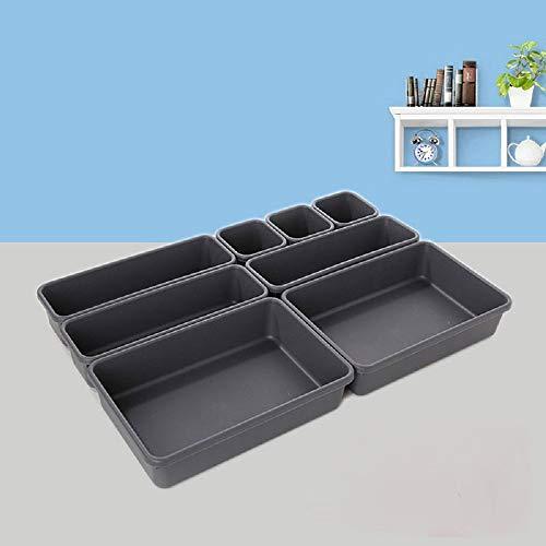 KRISMYA Junk Desk Drawer Organizer Tray Dividers - Set of 8 Shallow Drawer Storage Organizer Bins - Best Interlocking Narrow Drawer Organizer Separators/Storage Bins for Kitchen, Bathroom,Office