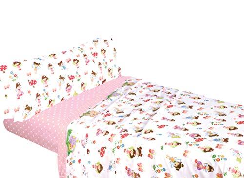 Montse Interiors - Bettwäsche-Set mit Feen-Muster - Design 'Fairies' - Überschlaglaken 160 x 275 cm, Kissenhülle 110 x 45 cm, Spannbettlaken 90 x 195 cm