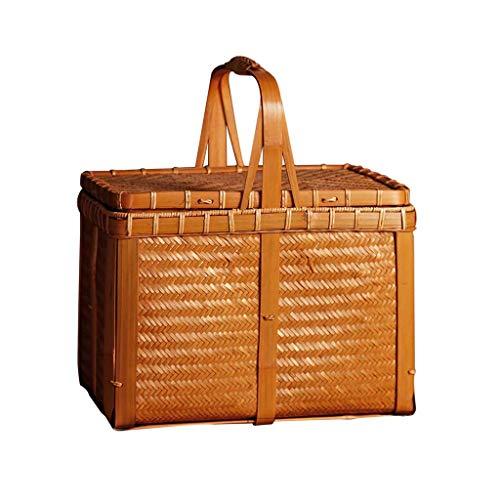 ZXL Creative Vintage Handmade Bamboo Picknick Sneaker Travel Portable Storage Bag Japan Tea Bag Handbag Basketball dubbele picknick Sneaker (Kleur: Bruin, Maat: 11.81 x 8.85 x 13.38 inch