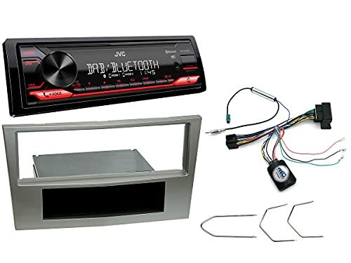 NIQ Autoradio Einbauset geeignet für Opel Antara | Astra | Corsa | Zafira inkl. JVC KD-X272DBT (DAB+), Lenkrad Fernbedienung Adapter & Blende in Satin-Stone