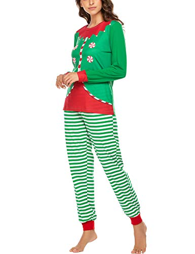 Ekouaer Womens Pajama Set for Wife Long Loungewear Set for Winter Christmas Pjs Green