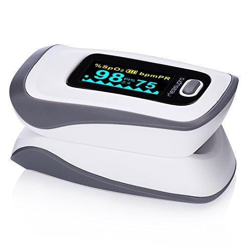MeasuPro OX250 Oxímetro de pulso digital instantáneo con alarma configurable, pantalla OLED color y escuche para transporte, aprobado por CE y FDA