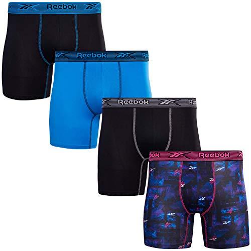 Reebok Men's Performance Boxer Briefs with Comfort Pouch (4 Pack) (Black Print/Black/Blue, Medium)