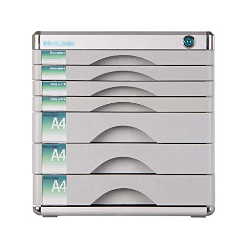 Opbergsystemen 7 lagen afsluitbare archiefkasten, tafel Office Desktop ladekast aluminiumlegering Data Storage Box (grootte: 12 x 14,4 x 12,2 in) kantoorbenodigdheden schrijfwaren