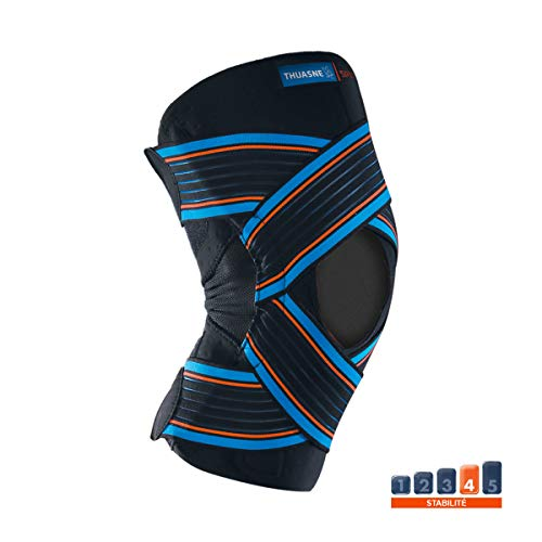 Thuasne Sport - Ginocchiera aperta con chiusura a strappo, colore: nero, taglia L