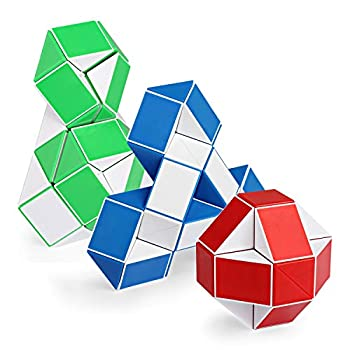 Ganowo 3PCS Large Size Fidget Snake Cube Twist Puzzle Magic Snake Sensory Toys Collection Brain Teaser Stocking Stuffers Party Favors Game Goodie Bags Fillers for Kids Adults Teens