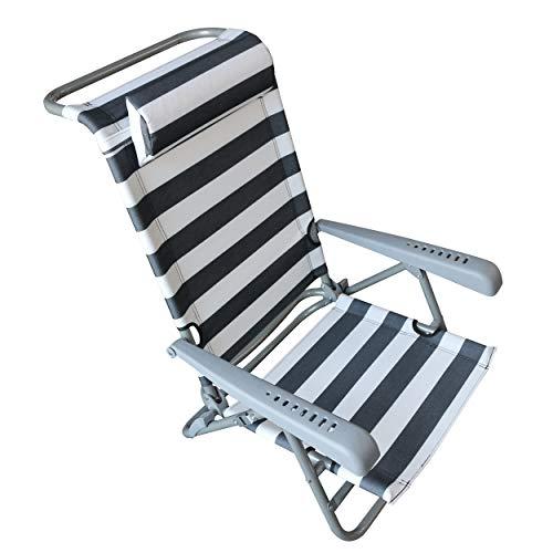 HOMECALL opvouwbare strandstoel met LIGSTAND en kussen, verstelbaar in 7 posities, flessenopener