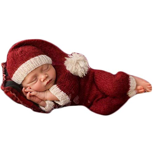 Christmas Newborn Baby Photo Shoot Props Outfits Crochet Clothes Santa Claus Red Hat Pants Photography Props