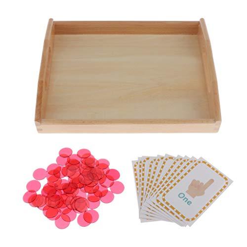 Juguete Montessori Bandeja de Madera con Tarjetas de Números Clavijas de Conteo Juego para Desarrollo de Cerebro de Niños