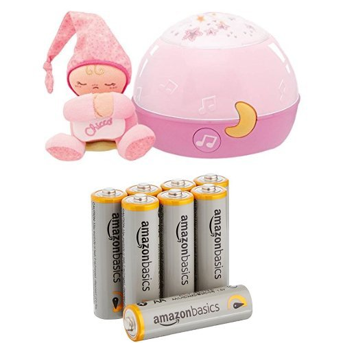 Chicco Lampe Magic'Projection First Dreams - Veilleuse - Rose & AmazonBasics Lot de 8 piles alcalines Type AA 1,5 V 2875 mAh (design variable)