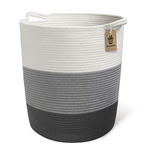 Goodpick Baumwolle Aufbewahrungskorb Großer Wäschekorb Korb für Decken Spielzeug im Kinderzimmer O47 x U45 x H47 cm, Grau