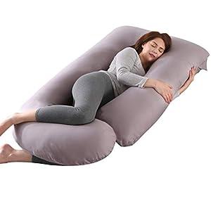 KINGSON Almohada Embarazada Dormir en Forma de U,Multifuncional Embarazo Almohada de Cuerpo Completo Mejorar Sueño con Funda de Algodón Extraíble y Lavable (U Forma-Gris, Algodón)
