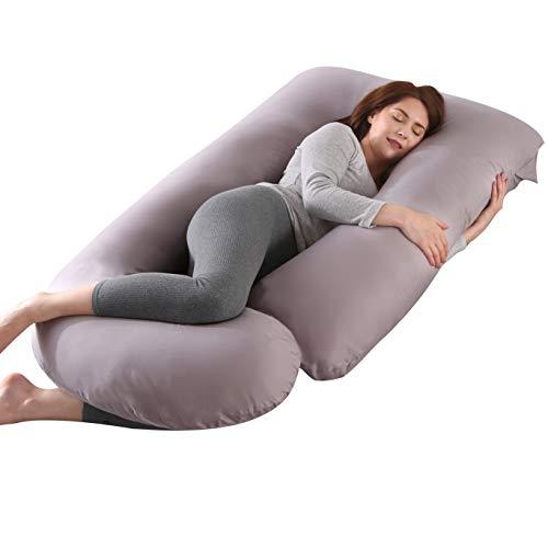 KINGSON Cuscino per Gravidanza a Forma di U,Grande Cuscino Gravidanza per Dormire Prenatal e Allattamento Neonato,100% Cotone on Fodera Rimovibile e Lavabile (U Forma-Grigio, Cotone)