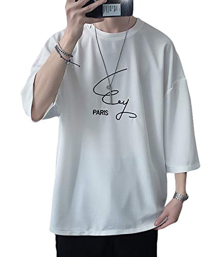 [ナラダ] ロゴ ビッグ Tシャツ 七分 トップス ゆったり おしゃれ ビッグサイズ オーバー サイズ カットソー 春 夏 かっこいい ジム トレーニング デザイン 普段着 ムジ スポーツ スポーティー カジュアル シンプル アクティブ ルームウェア ユニ