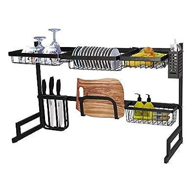 Koreyosh Dish Drying Rack Over The Sink,2-Tier Dish Drainer Tableware Drainer Stainless Steel Kitchen Supplies Storage shelf,Black from
