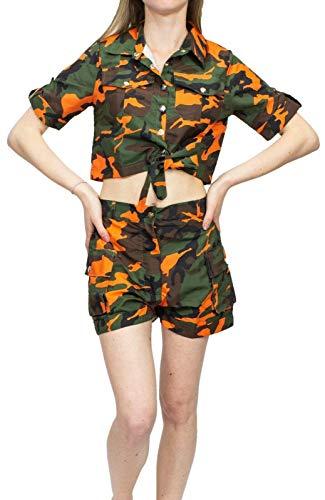 Festivals Crop Top & Shorts Co-ord Set Cargo Tie Fronttasche Anzug Sets Damen Gr. 34, Flo Orange Camo