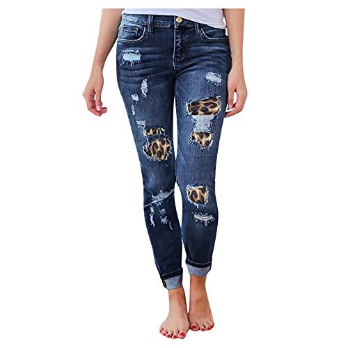 YANFANG Jeans Slim De Color SóLido Cintura Alta para Mujer con Cordones,Pantalones Mezclilla Corte Delgado Puro Y Corto, Delantero Trasero Largo Mujer,Pantalones Holgados Ocasionales,2-Azul,M