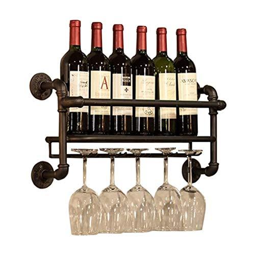Estantes de vino soportes de pared METAL |Tenedor de copa de vino colgante |Tenedor de la botella de vino de la vendimia |Tenedor rústico de vino montado en la pared |Estante de pared de almacenamient