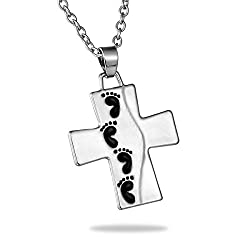 Footprints Reversible Cross Pendant