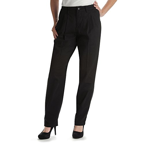 Lee Women's Petite Relaxed Fit Side Elastic Pleated Pant, Black, 12 Petite