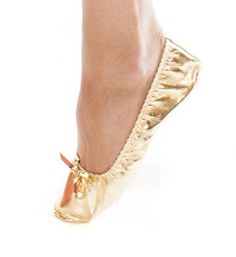 Turkish Emporium, scarpette da ballo da donna, in pelle lucida, per la danza del ventre, con suola, oro (Gold), 38