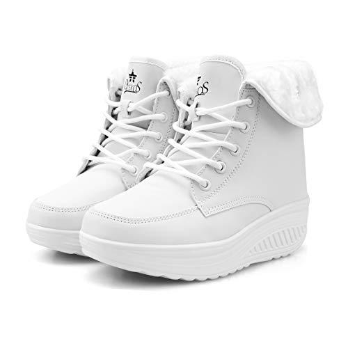 Botines Invierno Mujer Botas de Mujer Cordones Zapatos para Caminar Forrados de Piel Sintética(39 EU,Blanco