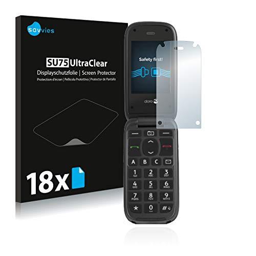 Savvies 18x Schutzfolie kompatibel mit Doro PhoneEasy 613 Bildschirmschutz-Folie Ultra-transparent