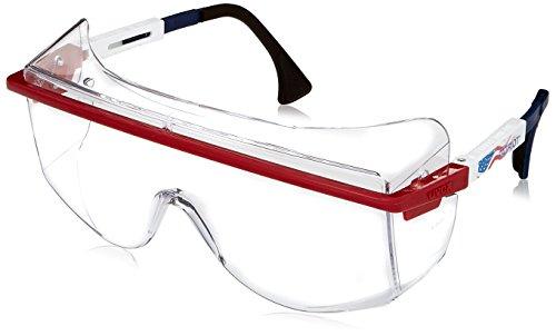 Uvex S2530 Astrospec OTG 3001 Safety Eyewear, Red/White/Blue Frame, Clear Ultra-Dura Hardcoat Lens
