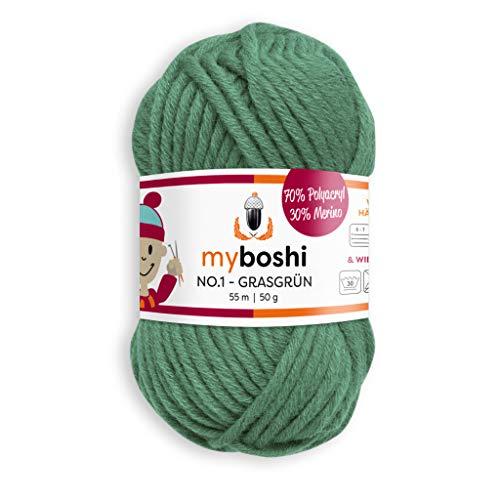 myboshi, No.1 Wolle, 70% Polyacryl, 30% Merinowolle, Grasgrün, 50g, 55m, 1 Knäuel, Garn zum Häkeln und Stricken, Formstabil, Pflegeleicht