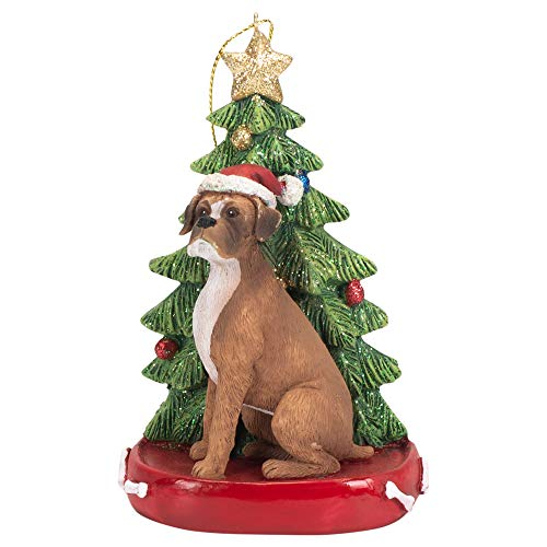 K. Adler Boxer Brown 4 Inch Santa Dog Resin Christmas Ornament