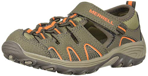 Merrell unisex-kid's Hydro H2O Hiker Sandal, Gunsmoke/Orange, 1 big