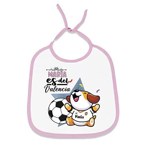 Babero personalizado nombre de bebé equipo de fútbol, niño y niña (Valencia CF, Niña)