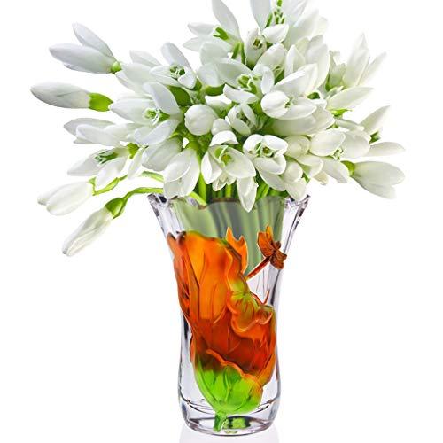PLL Kristallglas-Vase Lotus Leaf Dragonfly chinesischen Muster Vase Haushalt Vase Ornament Wasser Kultur Pflanze Container