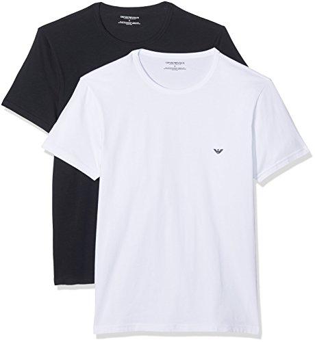 Emporio Armani Uomo T-shirt in cotone stretch da 2 paia, Bianca, Large