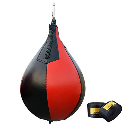 LLFFDC Double End Boxing Speed Ball, bokszak, Speed Ball met verband, voor training, fitness en sport, zwart + rood