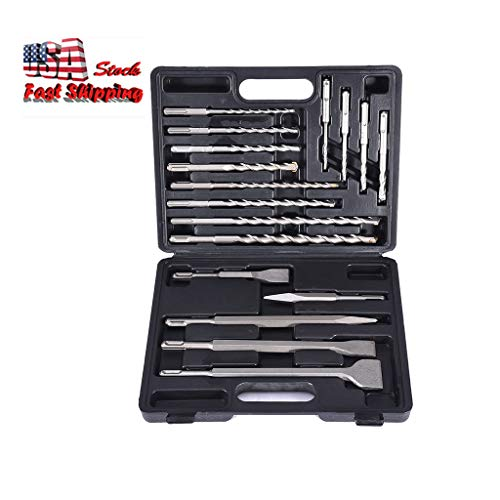 New 17pc Hammer Drill SDS+ Plus Bit Bits Chisel Set Concrete Fits