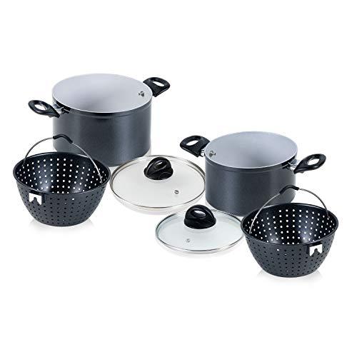 Genius Cerafit Magic Pot - Batería de cocina (6 piezas, 20 cm + 24 cm, 3,7 L + 6,3 L, con colador y tapa de cristal)