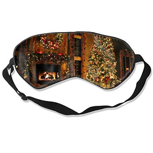 Schlafmaske Vintage Kamin Weihnachten gedruckt Schlafaugenmasken Blackout verstellbare Kopfband Nacht Augenbinde