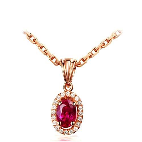 AnazoZ Collar de Compromiso Mujer Oro Rosa y Rojo Collar Oro Rosa 18 Kilates Mujer Collar Oval Rubí Rojo 0.68ct Diamante Blanco