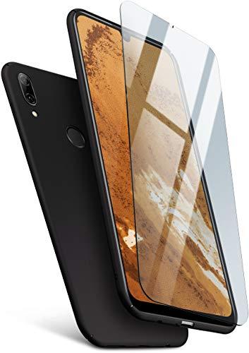 Preisvergleich Produktbild MoEx 360 Grad Rundum-Schutz [Case + Panzerglas] für Huawei P Smart (2019) / Extrem dünne Handyhülle in Schwarz inkl. kristallklare Schutzfolie aus Hartglas
